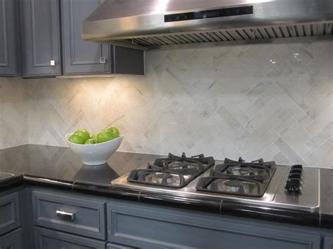 Marble Backsplash Kitchen Marble Herringbone Backsplash Design Ideas