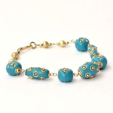 Images Of Handmade Bracelets - handmade bracelet blue with metal rings