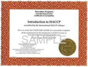 Haccp Certification Letter blank calendar samples or certificates blank certificates kansas