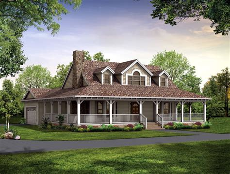 country home plans wrap around porch house with low