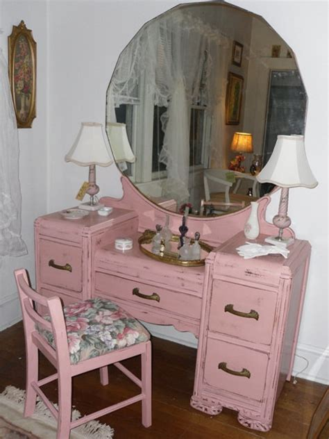 Dresser With Vanity Mirror by Vintage Dresser Vanity With Mirror And Stool In Shabby Chic