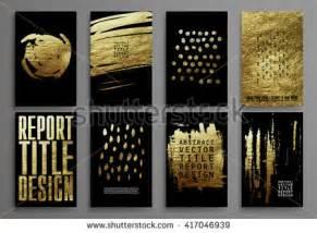 set black gold design templates brochures stock vector