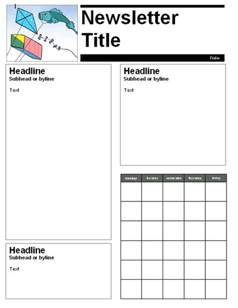 monthly newsletter template monthly newsletter template school