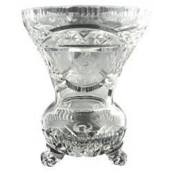 vintage glass l vintage cut glass crystal vase etched roses from
