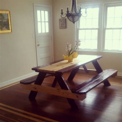 Picnic Table Dining Room 80 Picnic Table From Lowes Two Different Color Finishes Gorgeous Dining Room Table