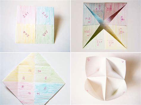 Folding Paper 12 Times - times table fortune tellers with printable tally sheets