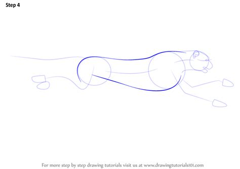 Running Cheetah Outline by Learn How To Draw A Cheetah Running Big Cats Step By Step Drawing Tutorials
