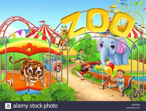theme park zoo zoo kids playground amusement park 3d vector