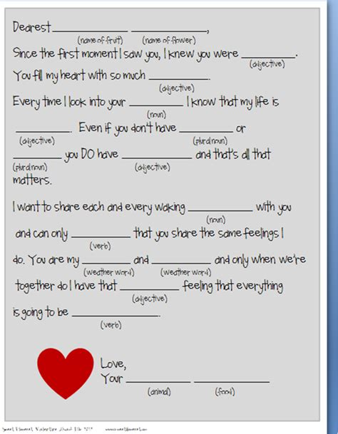 Mad Libs Letter Printable by Top 10 Free Mad Libs Printable