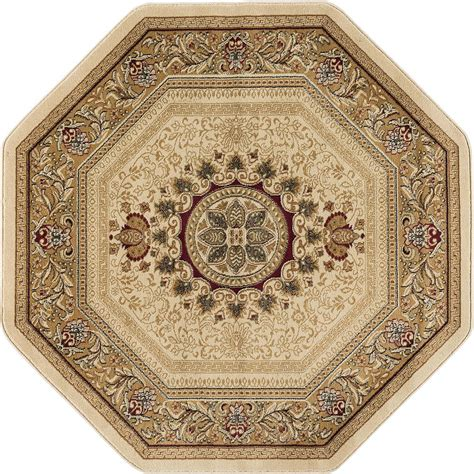octagon shaped area rugs tayse rugs sensation beige 7 ft 10 in traditional