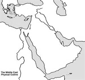 middle east physical outline map
