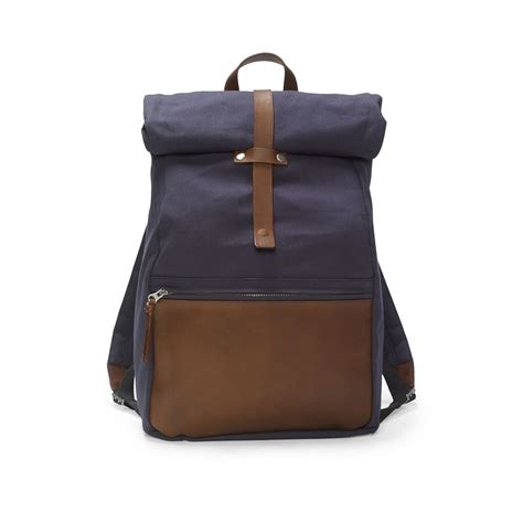 club monaco canvas roll top backpack in blue for aviator brown leather lyst