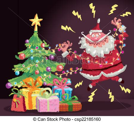 stock illustration of cartoon santa claus having an