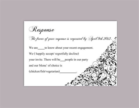 template for word for replay cards diy wedding rsvp template editable text word file