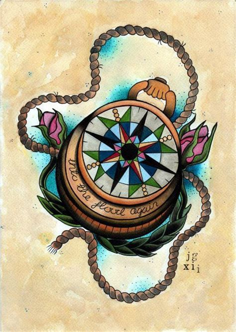 compass tattoo art compass art print tattoo flash print 163 9 50 via etsy