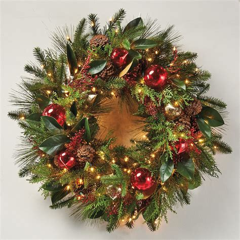 florist s choice decorated christmas wreath cordless led