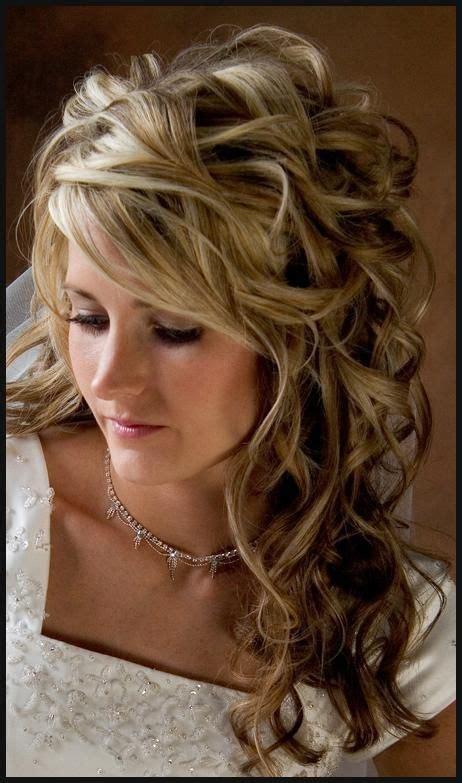 wedding hairstyles half up half down curls bridal