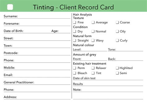 hairdressing client record card template tinting client card treatment consultation card