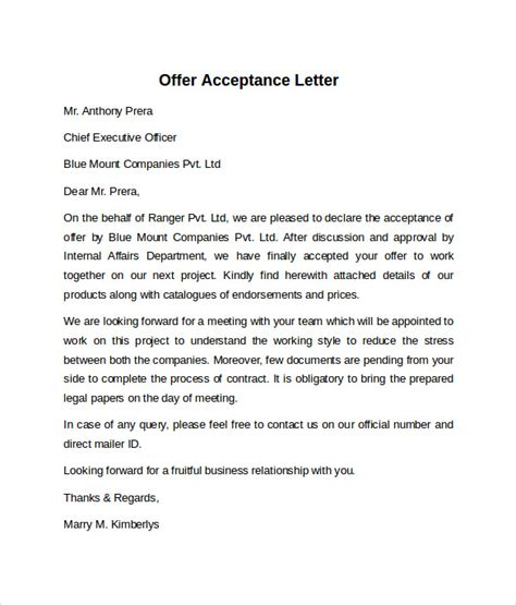 Acceptance Letter For Offer Sle Offer Acceptance Letter 9 Free Documents In Pdf Word