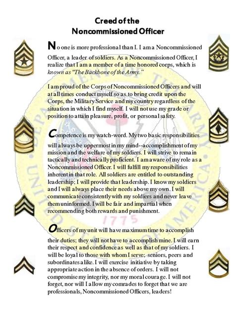 What Is A Non Commissioned Officer by Creed Of The Non Commissioned Officer Us Army