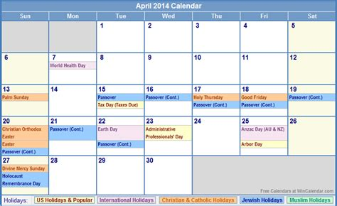 Calendars With All Holidays 2014 Calendar With All Holidays April 2014 Calendar With