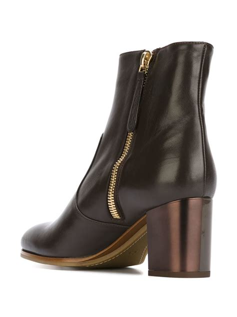 l autre chose chunky heeled ankle boots in brown lyst