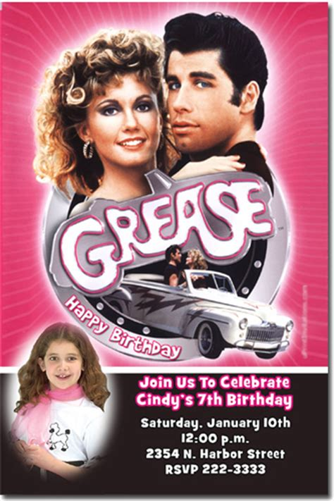 Grease Birthday Invitations Candy Wrappers Thank You Cards Candy Bag Labels Grease Invitation Template