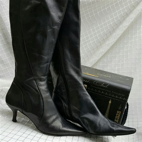 bandolino bandolino black leather boots w kitten heel