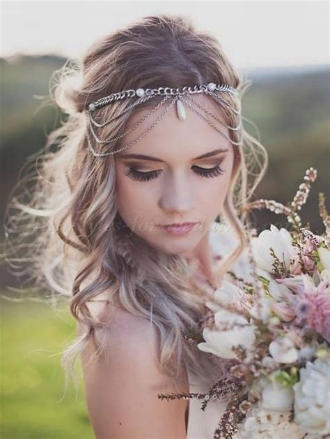 Boho Wedding Hairstyles by Bridal Headbands Boho Wedding Hairstyle With Forehead