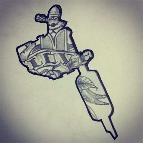 traditional tattoo sketch inside tattoo machine silhouette
