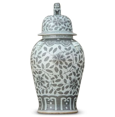 ginger jars jiangjun vintage style chinese porcelain grey painted