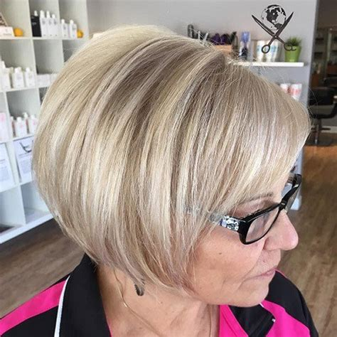 short angled bob cuts for women over 60 short hairstyles for women over 60 with glasses