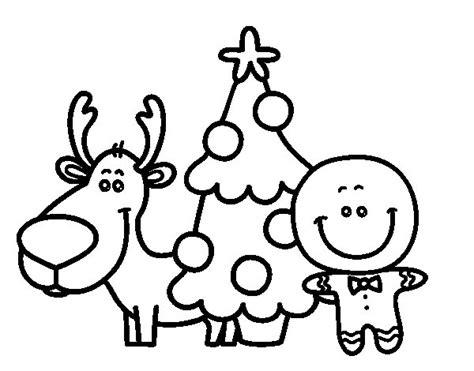 imagenes de navidad para colorear renos dibujo de reno 225 rbol y mazap 225 n para colorear dibujos net