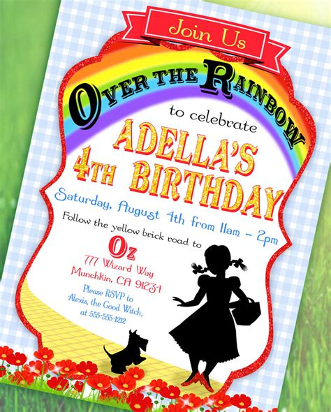 wizard of oz invitations template wizard of oz inspired invitation the rainbow collection