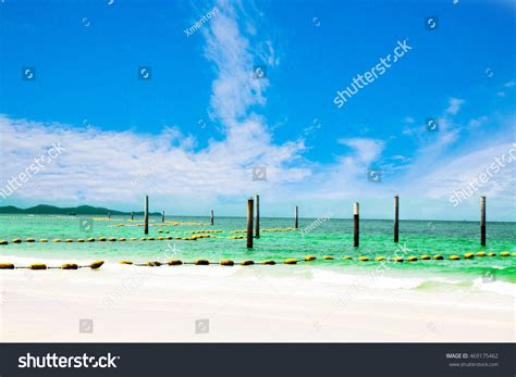 buoy boat barrier buoy rope barrier on water security stock photo 469175462