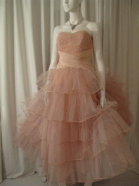 Tulle P Da 1950 s flesh pink tulle tiered strapless vintage gown