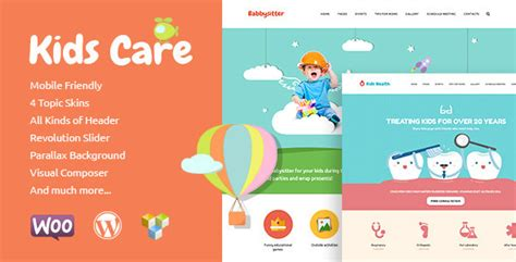 kids care multi purpose children wordpress theme by