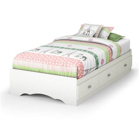 Bed Frame With Storage Canada Size White Platform Bed Frame With 3 Storage Drawers