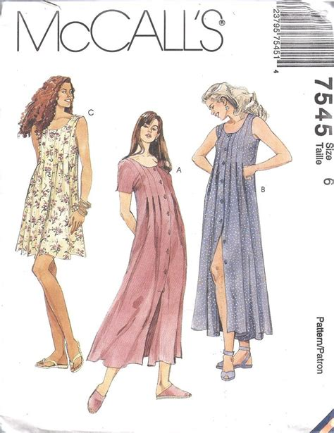 sewing pattern button up dress mccall pattern 7545 sz 6 20 sexy button up front loose