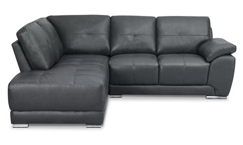 Real Leather Sectional Sofa by Rylee 2 Genuine Leather Left Facing Sectional Grey