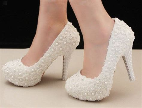 Sepatu Balet Glitter handmade white lace pearl leather wedding shoes
