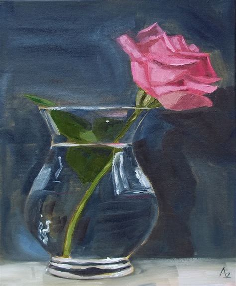 azra s painting a day pink in glass vase