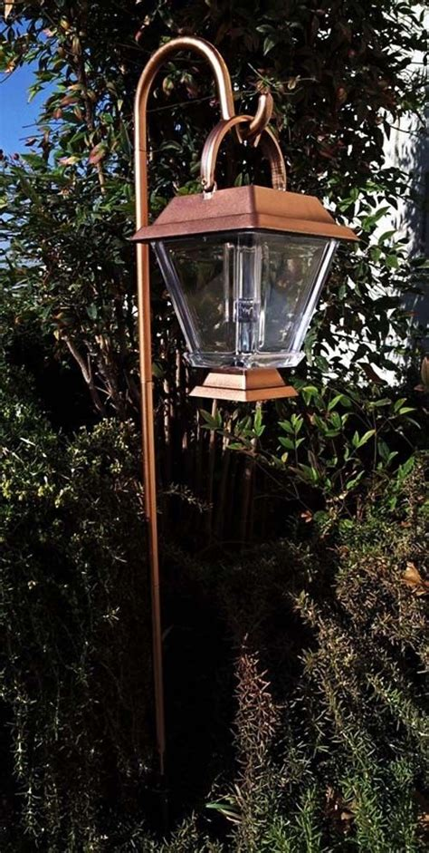 copper l post lantern 6 outdoor 2 led copper shepherds hook hanging solar