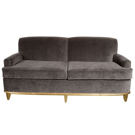 mohair couch art deco normandy sofa in grey mohair and gilt detailing
