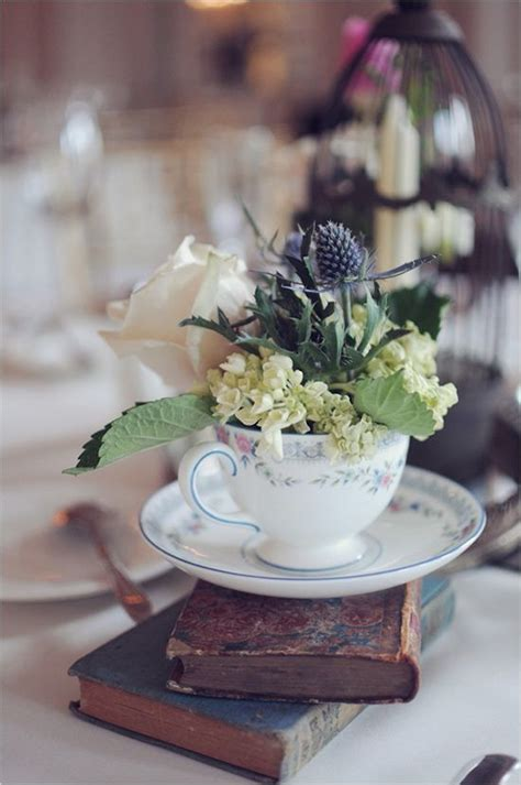 teacup floral centerpieces wedding table settings