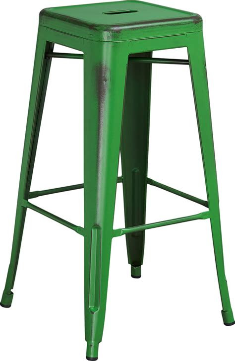 office green weathered bar stool