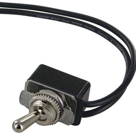 spst toggle switch with two 6 inch wire leads on bulk