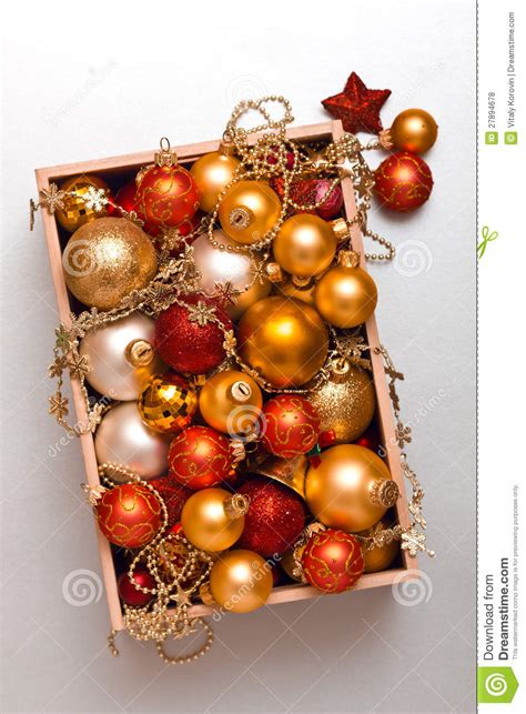 box of christmas decorations stock photo image 27894678