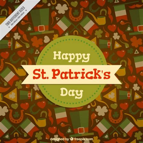 st s day items flat st s day background with variety of decorative items vector free