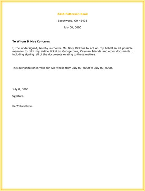 authorization letter format doc 10 best authorization letter sles and formats